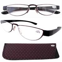 R11003 Pattern Stainelss Steel Frame Rim Plastic Arms Women's Reading Glasses 1.0/1.25/1.5/1.75/2.0/2.25/2.5/3.0/3.5