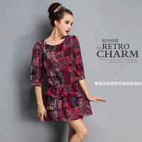 L-5XL 2014 New Summer High Quality Vestidos Women Clothing Casual Dresses Plus Size Slim Floral chiffon dress big yards