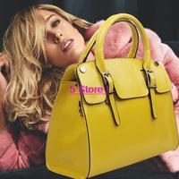 Europe Luxury 100% Genuine leather bag women handbag fashion yellow rose pink color leather messenger bag