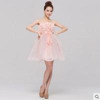 New fashion cute pink bridesmaid dress sexy dress party dress Bra
