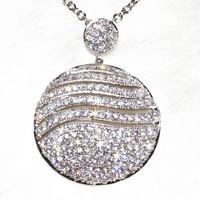 The Big Circular Wave Lines Pendant Necklace Women's Fashion Jewelry Pure Handmade183 Stone Grain
