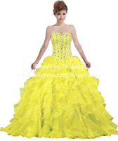 Charming Crystal Sweetheart Ruffled Organza Yellow Quinceanera Dresses Ball Gowns D131 Vestidos de 15 Anos
