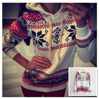 2014 New Christmas Hoodies Snow Printed Pullovers Fashion Hoodies With Cap Sweatshirt Long Sleeve Pullover 852056