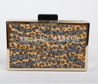 Luxury high quality rhinestones leopard horse hair wavy party purse handbags clutch evening bag messenger bag shoulder bag