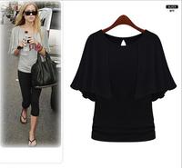 M-5XL 2014 New Summer High Quality T shirt Women Clothing Casual Tops Plus Size Slim European style chiffon T-shirt