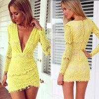 vestidos invierno Hot Sale Women Dress Nightclubs Work wear sexy deep V Slim Hip long-sleeved yellow lace dress rockabilly dress
