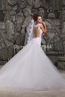 Designer White Vintage Lace Beading Mermaid Long Detachable Train Wedding Dresses Sweetheart Sheer Back 2015 vestido de noiva