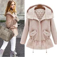 2014 fashion slim waist medium-long woolen outerwear wool coat woolen overcoat female