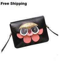 New 2014 all-match personality owl women messenger bag mini bag mobile phone bag fashion women leather handbag clutch bag purse