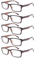 R057 Spring Hinge 5-pack DEMI Arm Retro Wayfarer Style Reading Glasses+1.0/+1.25/1.5/1.75/2.0/2.25/2.5/2.75/3/3.5/3.25