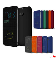 YOSA02 2014 NEW Arrival Ultra Thin Dot View Flip Leather Case Cover for HTC One M8 DHL free shipping