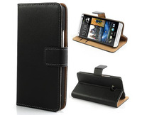 Book Folio Flip Genuine Leather Case for HTC One M7 Wallet Cover Skin Phone Bag Pouch with Card Holder Slots and Stand