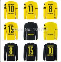 2015 Borussia Dortmund long sleeve Jersey soccer 14 15 Dortmund yellow black KAGAWA REUS HUMMELS MKHITARYAN Football shirt