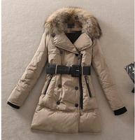 2014 winter women Wadd jacket  female medium-long plus size 2X lady thickening casual down wadded coat real big fox fur collar