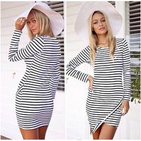 2014 New Bestsellers Fashion Women Striped Slim Elastic Casual Dress Crew Neck Comfy Short Sleeve Dress