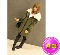 Winter 2014 han edition new lambs wool large lapel long cotton for women with thick cotton-padded clothes coat