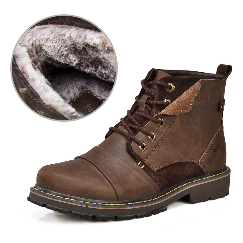 2014 new winter men boots warm genuine leather boots with fur waterproof motorcycle boots free shipping plus size(China (Mainland))