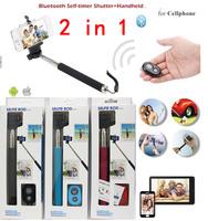 Z07-1 Handheld selfie stick Monopod + Bluetooth wireless Remote Shutter + Phone Holder Clip For Htc iphone samsung,30set/lot