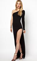 Women new oblique strapless long-sleeved black dress with side slit length dress