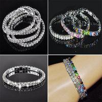10Pcs/lot Fashion Row Crystal Bracelet Bangle For Women 1 Row Crystal Silver Plated Rhinestone Adjsutable Bangle Bracelet
