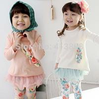 2014 autumn girls clothing baby child long-sleeve T-shirt legging set fashion lovely causal female childs sets free shipping