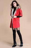 Vogue new winter Women Composite lambs wool split hem tailored coat High-end custom raccoon fur hooded coat