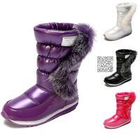 Fashion 2014 new girls snow boots rabbit fur winter waterproof antiskid quality children shoes kid shoes black white red purple
