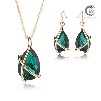 Комплект с ожерельем золото заполненные себе ожерелье женщин свадебные аксессуары серьги зеленый кристалл нигерии африканский бусины ювелирных изделий