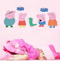 wholesaleFree Shipping Peppa Pig Wall Sticker Cartoon Removable Nursery Wall Decals Wall Stickers for Kids Rooms Peppa Pig Home