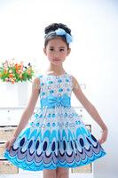 Girls Lovely Peacock Dresses For Girls Girls Vest Princess Dress Children Party Dress Tutu Girls Free Shipping