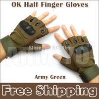Armiyo OK Half Finger Cycling Gloves Combat Motorcycle Cycling Racing Army Green Mittens Free Shipping