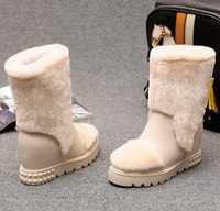 2015 Free Shipping high quality women winter snow boots height increasing shoes with warm fur genuine leather shoes black/beige