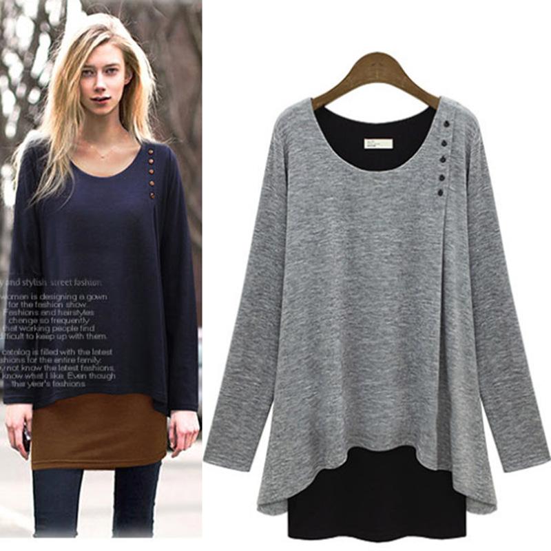 american apparel Fall 2015 new fake designer clothes long sleeve loose irregular female T shirt plus size women clothing (China (Mainland))