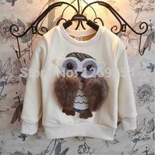 2014 New Autumn Winter Children Girls Animal Owl Long Sleeve O Neck Sweatshirts Hoodies Pullovers(China (Mainland))