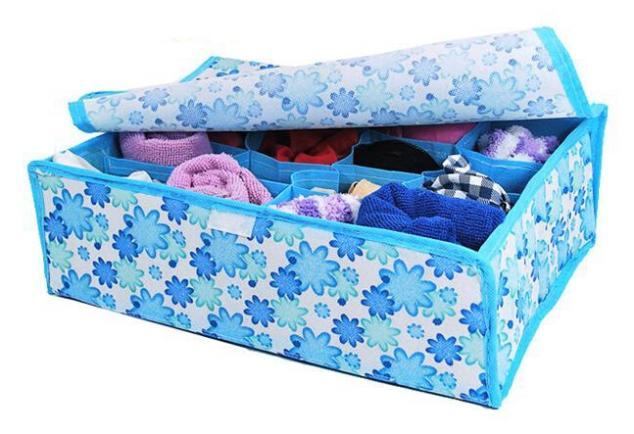 New 2014 16 Cells Underwear Socks Ties Closet Divider Organizer Container Storage Box(China (Mainland))