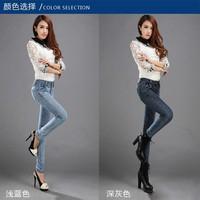 2014 Fashion Women's Autumn Elastic Cotton Small Leg Slim Hip Lefted Pencil Jeans/Pants/Trousers,Free Shipping