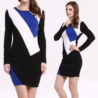 2014 Women's  Clothing Long-sleeved Hit color Party Dresses Business Pencil Mini Bodycon Autumn Dress Blue