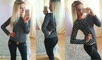Free Shipping Long Sleeve Dot Shirts Chiffon Blouse 2014 Euro American Style