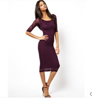 New fashion sexy package hip Slim was thin round neck Sleeve Lace Dress