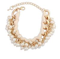 Women's Fashion Metal Chain Faux Pearl Charm Bracelet Multi-Layer Wristband Bracelets & Bangles cxt906124