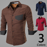 Free Shipping New Arrival Autumn Men Long Sleeve plus velvet Shirts Korean Slim Fit Design Casual Corduroy warm camisa masculina