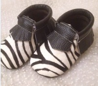 New horsehair zebra-stripe fringe moccasins shoes, baby moccs prewalker,toddlers/infants cow leather tassel zebra moccasin shoes