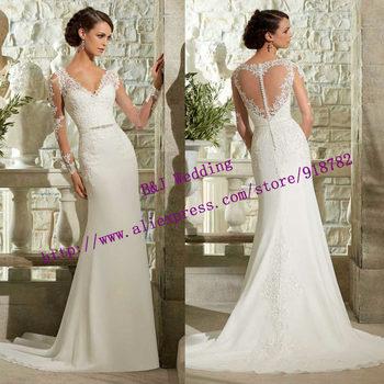 Vestido де Noiva 2015 новое поступление новая модная модест с длинным рукавом свадебное платье шифон кружева русалка свадебное платье