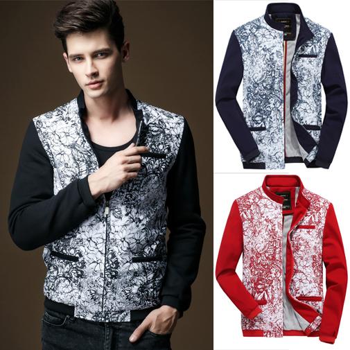 Mens Casual Jackets Long Sleeve Mens Baseball Jackets Mandarin Collar Floral Autumn Outdoor Jackets Coats Wholesales(China (Mainland))
