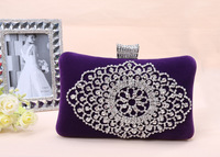 Women's Hot Sale New Upscale Rhinestone Diamond Crust Evening Bag Bridal Velour Clutch Wholesale Free shipping