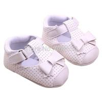 Free ShippingPU Leather Girls Kids Newborn Baby Flat First Walkers Shoes Princess Bow Mary Janes Soft Bottom Prewalker ShoesDrop