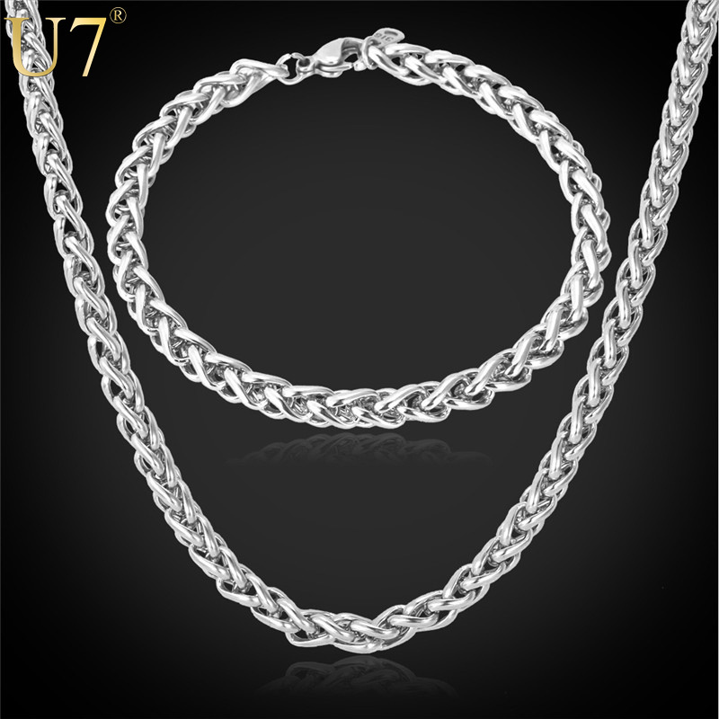 316L Stainless Steel Necklace Set Men Party Gift New Arrival Round Link Chain Necklace/Bracelet Jewelry Sets Wholesale U7 S475(China (Mainland))