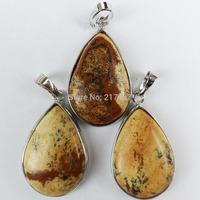 Q0872 Free Shopping Beautiful Romantic Fashion Picture Jasper pendant bead 3pcs/lot