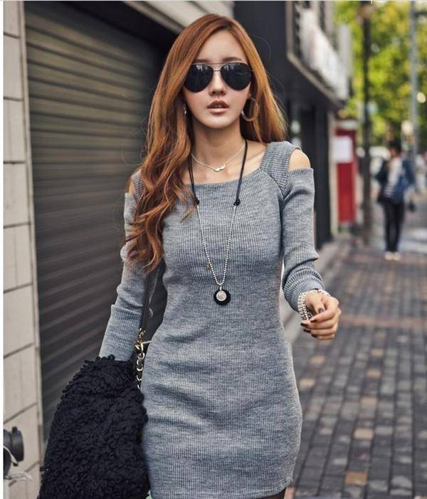 Factory direct spring sexy club dress 2015 slim strapless long sleeve Package hip women dresses cheap clothes china(China (Mainland))