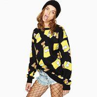 European and American Styles Autumn Winter Character Printed Hoodies Round Neck Cartoon Simpson Casual Wild Rib sweatshirt
